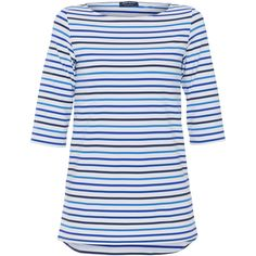 Saint James Phare White And Blue Multi-stripe Top ($170) ❤ liked on Polyvore featuring tops, striped, blue and white striped top, striped top, 3/4 length sleeve tops, three quarter sleeve tops and bateau neck tops
