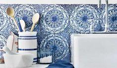 beautiful blue tile backsplash