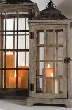 "Set of Two Huge (30"" & 21"")  Wood & Glass Belleville Lanterns"
