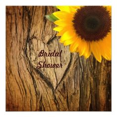 tree bark country sunflower bridal shower custom announcements