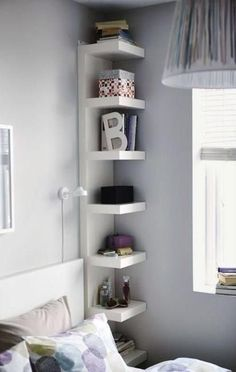 corner bookshelf - small bedroom design ideas and home staging tips for small rooms