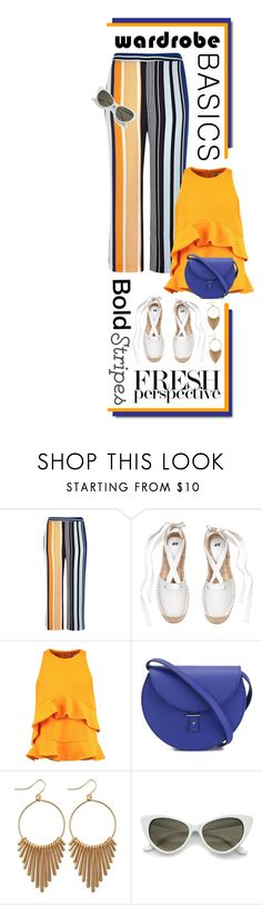 """""""Strong Stripes: Graphic Striped Pants"""" by shortyluv718 ❤ liked on Polyvore featuring River Island, MSGM and PB 0110"""