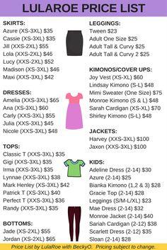 LulaRoe 2017 price list with new styles Gigi, Lynnae, Shirley, Jaxon, Harvey