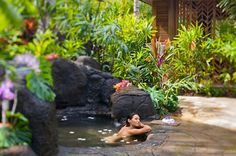 Anara-Spa-Grand-Hyatt-Kauai- This is a must on your list if you visit Kauai.  Located on the south shore, the entire resort is breathtaking and serene.  The spa keeps the gardens natural and most treatments are done in outdoor huts with the ocean breeze rustling the leaves and the birds chirping around you.
