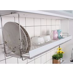 Safety Bar Dish Drying Rack Drainer Dryer Suspended Shelf Kitchen Dish Holder #CHUNGA