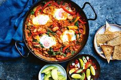 This is a take on the Mexican dish of eggs and spicy tomato sauce on tortillas. Capsicum gives sweetness and the chorizo lends a lovely smoky flavour. It's brilliant for a late brunch. I like to throw in some beans to make it super-hearty and add even more goodness. Try any kind – black, kidney, whatever you have in the pantry, says Jamie.
