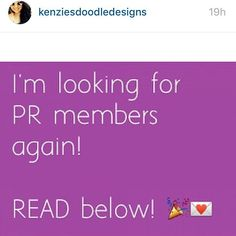 #kenziesdoodledesignsprsearch What a great opportunity!