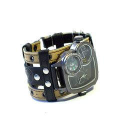 Men's wrist watch bracelet Safari-3 Steampunk Watch  by dganin