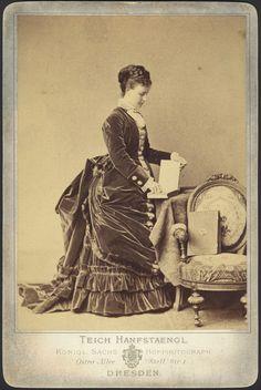 Mid 1870s velvet bustle dress
