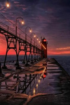 Winters Night Sunset / Lighthouses - South Haven, Michigan.