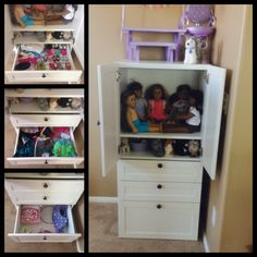 American Girl storage solution using Stuva system from IKEA. Amazing!!