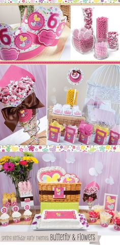 Playful Butterfly and Flowers - Girl Birthday Party Theme