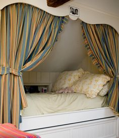 35 Amazing Small Space Alcove Beds, Traditional kids bedroom with a cozy alcove bed featuring built-in storage. Alcove Bed, Bed Nook, Cozy Nook, Cosy, Girls Bedroom, Bedroom Decor, Cozy Bedroom, Sleeping Nook, Ikea