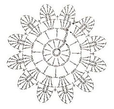 Round motif Crochet Snowflake Pattern, Crochet Snowflakes, Granny Square Crochet Pattern, Crochet Flower Patterns, Crochet Diagram, Crochet Chart, Crochet Squares, Crochet Motif, Crochet Designs