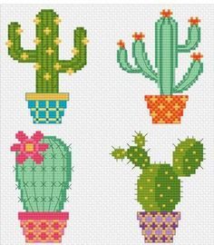 Modern Cross Stitch - Cactus Pots - Cross Stitch P Cactus Cross Stitch, Cross Stitch Flowers, Modern Cross Stitch Patterns, Cross Stitch Designs, Hardanger Embroidery, Cross Stitch Embroidery, Cross Stitching, Beading Patterns, Embroidery Designs