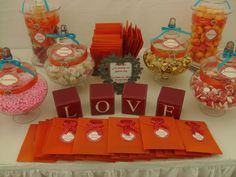 Orange, Red, Pink with Hints of blue, Candy Buffet