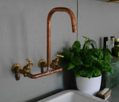 copper pipe taps | kitchen | Pinterest by guida
