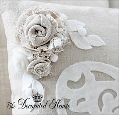 The Decorated House. Pillow featuring Cotton Fabric & Lace Flowers with White Felt Leaves