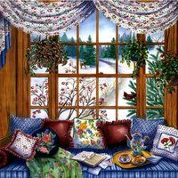 Solve winter window jigsaw puzzle online with 64 pieces Illustration Photo, Illustrations, Winter Schnee, Cottage Art, Window View, Through The Window, Decoration, Color Inspiration, Home Art