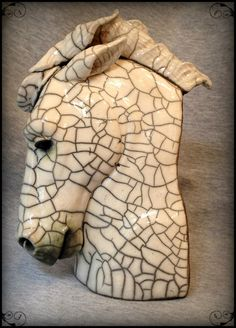 OOAK Raku Horse Sculpture AMADEUS van SmilesUnlimited