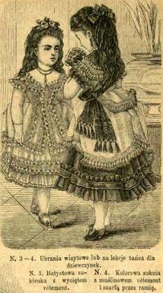 Stroje wizytowe dla dziewczynek, 1873 Visiting dresses for girls, 1873
