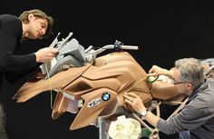 BMW design engineers work on a clay model of the new R 1200 GS