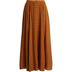 Diane Von Furstenberg Button-through Arbor dot-print silk skirt (£414) ❤ liked on Polyvore featuring skirts, suits, brown print, button skirt, print skirt, patterned skirts, button-front skirts and diane von furstenberg