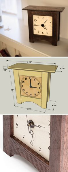 DIY Mantle Clock with Free Printable Dial Diy Mantel Clocks, Diy Clock, Wood Clocks, Wooden Clock Plans, Wood Plans, Diy Home Crafts, Wood Crafts, Diy Home Decor, Woodworking Projects That Sell