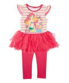 Love this Disney Princess Pink Ariel Tutu Tee & Leggings - Toddler & Girls on #zulily! #zulilyfinds