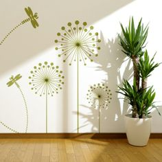 Vinilo decorativo de un dibujo de flores con libélulas. Masquevinilo.com