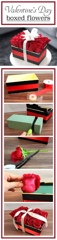 An easy DIY Valentine's Day arrangement! Boxed roses wrapped in a beautiful bow. the roses create the illusion of a flat rectangular box. This simple-to-make creation is the perfect centerpiece for a Valentine Day Boxes, Be My Valentine, Valentine Day Gifts, Valentines Flowers, Diy Flower Boxes, Flower Box Gift, Diy Flowers, Valentine Decorations, Valentine Crafts