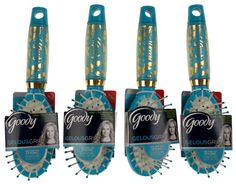 Lot 4 Goody Gelous Comfort Grip Ionic Hairbrush Smoothing Frizz Free Blue Gold