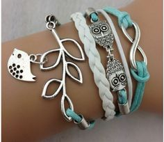 *HOT* Infinity Silver Owl Leaf Bird Leather Bracelet Only $2.42 Shipped! - Raining Hot Coupons