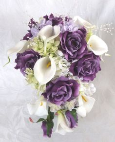 Purple Hydrangea Wedding Bouquets | Bridal bouquet bridesmaid bouquet purple roses lilac hydrangea ...