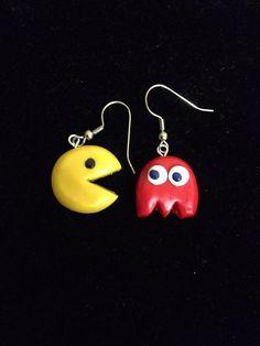 Handmade Polymer Clay Pacman Earrings:
