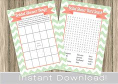 high res Coral and Mint pom | Mint and Coral BRIDAL Shower Games Set / Bingo and Word Search Cards ...