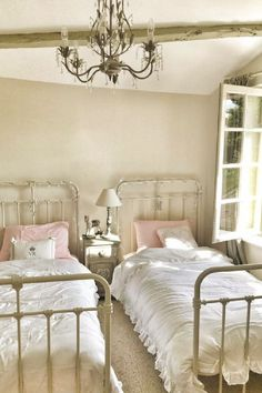 Farrow & Ball Strong White on walls. Charming French country bedroom in a farmhouse in France by Vivi et Margot. #frenchfarmhouse #bedroomdesign #frenchbedroom #girlsbedroom #oldworldstyle French Country Rug, French Country Living Room, French Country Bedrooms, Country Farmhouse Decor, Farmhouse Interior, French Farmhouse, French Country Decorating, Farmhouse Design, Country Kitchen