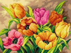 Kanwa Barwne tulipany - Kokardka - sklep internetowy - haft krzyżykowy, szydełkowanie, włóczki, robótki na drutach, kanwy, filcowanie, decoupage, robótki ręczne.