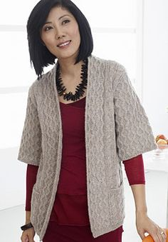 Free Pattern - Patons Classic Wool - Long Cardigan with Pockets (knit)