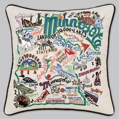 embroidered pillows for states and countries! so cute: http://www.catstudio.com/products/Minnesota-Pillow.html