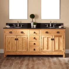 "72"" Mission Hardwood Double Vanity for Undermount Sinks (Signature Hardware)"