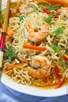 Spicy Shrimp Ramen Bowls These easy shrimp ramen bowls will bring a cheap meal to the next level. Fresh veggies and tender shrimp really puts it over the top. Top Ramen Recipes, Seafood Recipes, Asian Recipes, Soup Recipes, Cooking Recipes, Healthy Recipes, Ramen Noodle Recipes, Cheap Recipes, Family Recipes
