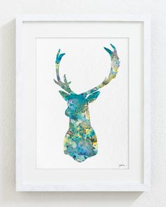 This is an Archival Print of my original watercolor painting Blue Deer 3 with minimal digital art enhancement and editing. Signed on the front.
