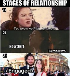 Stages of relationship, Game of Thrones.