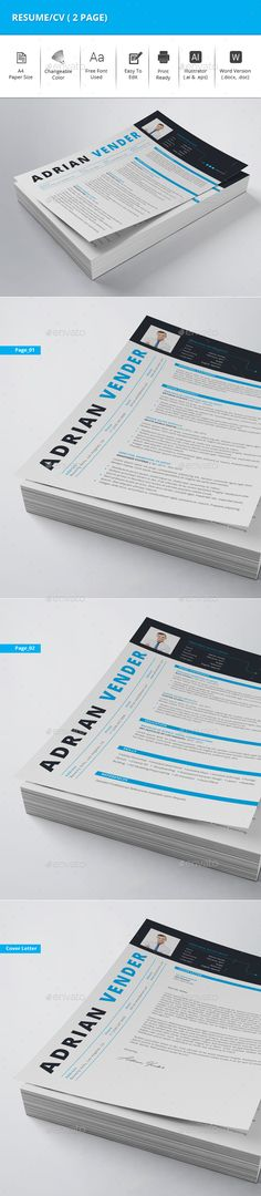 Clean Resume With MS Word Docx Cv template, Resume cv and Font logo - resume download