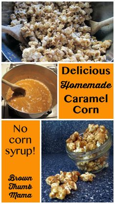 With just 5 simple ingredients, this ridiculously easy homemade caramel corn will amaze your taste buds. Add peanuts to make homemade Cracker Jacks! Popcorn Recipes, Candy Recipes, Snack Recipes, Dessert Recipes, Cooking Recipes, Carmel Popcorn Recipe Easy, Butter Popcorn, Healthy Cooking, Homemade Carmel Corn