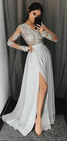 Sale Luxurious Prom Dresses Long Stylish A-Line V-Neck Long Sleeves Split Front Gray Chiffon Long Prom Dresses Uk Grey Evening Dresses, Grey Prom Dress, Evening Dresses With Sleeves, Prom Dresses Long With Sleeves, Long Prom Gowns, A Line Prom Dresses, Cheap Prom Dresses, Prom Party Dresses, Sexy Dresses