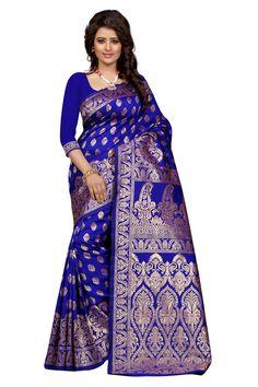 Blue Color traditional wear Banarasi cotton saree