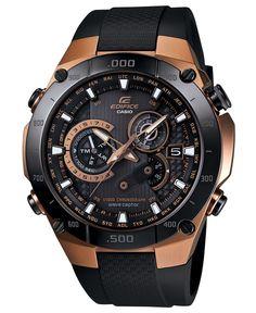 G-Shock Watch, Men's Chronograph Edifice Black Resin Strap 52x47mm EQWM1100CG-1 - All Watches - Jewelry & Watches - Macy's