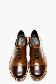 MARNI Brown Leather Capped Derbys